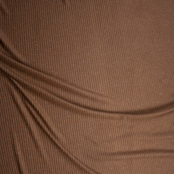 Light Brown Soft Brushed Ribbed Sweater Knit Fabric By The Yard - Wide shot