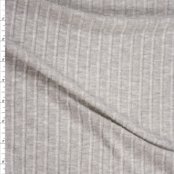 Light Grey Soft Brushed Wide Rib Sweater Knit Fabric By The Yard
