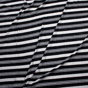 Black and White Striped Accordion Knit Fabric By The Yard - Wide shot