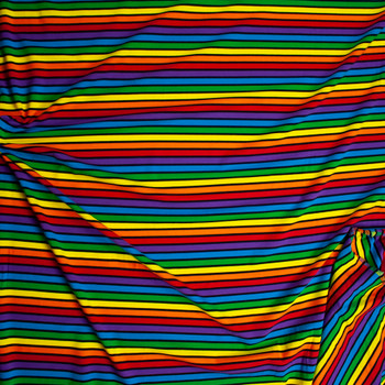Black Banded Rainbow Stripe Premium Stretch Midweight Cotton Jersey Fabric By The Yard - Wide shot