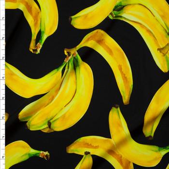 Bananas on Black Premium Nylon/Spandex Fabric By The Yard
