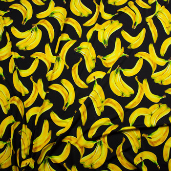 Bananas on Black Premium Nylon/Spandex Fabric By The Yard - Wide shot