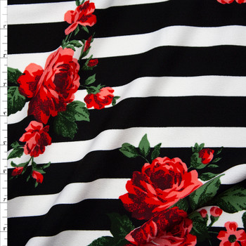 Red and Green Rose Floral on Black and White Stripes Midweight Crepe Knit Fabric By The Yard