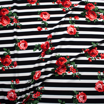 Red and Green Rose Floral on Black and White Stripes Midweight Crepe Knit Fabric By The Yard - Wide shot