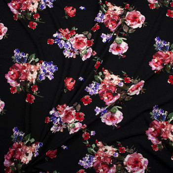 Watercolor Floral Cluster on Black Midweight Crepe Knit Fabric By The Yard - Wide shot