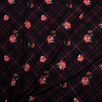 Pink and Green Flowers on Plum, Black, and Wine Argyle Midweight Crepe Knit Fabric By The Yard - Wide shot