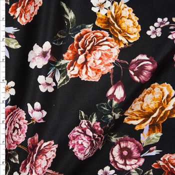 Plum, Red, and Orange Cabbage Rose Floral on Black Designer Stretch Sateen Fabric By The Yard