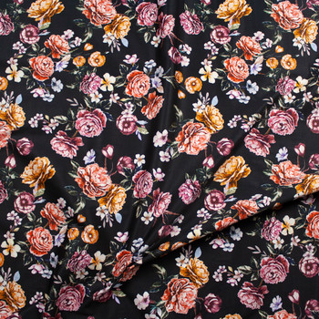 Plum, Red, and Orange Cabbage Rose Floral on Black Designer Stretch Sateen Fabric By The Yard - Wide shot