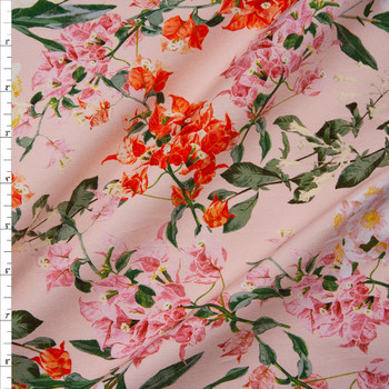 Pink, Orange, and Ivory Floral on Pale Pink Designer Stretch Sateen Fabric By The Yard