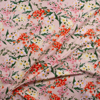 Pink, Orange, and Ivory Floral on Pale Pink Designer Stretch Sateen Fabric By The Yard - Wide shot