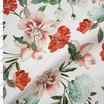 Red, Pink, and Aqua Floral on White Designer Stretch Sateen Fabric By The Yard