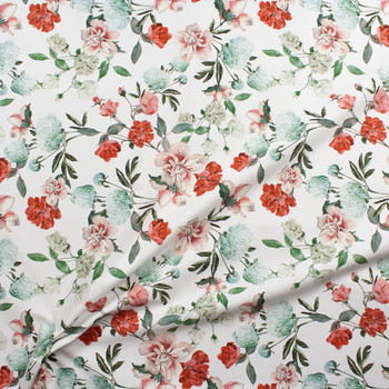 Red, Pink, and Aqua Floral on White Designer Stretch Sateen Fabric By The Yard - Wide shot