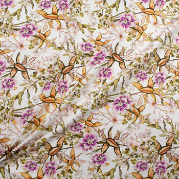 Plum and Lilac Floral on White Designer Stretch Sateen Fabric By The Yard - Wide shot
