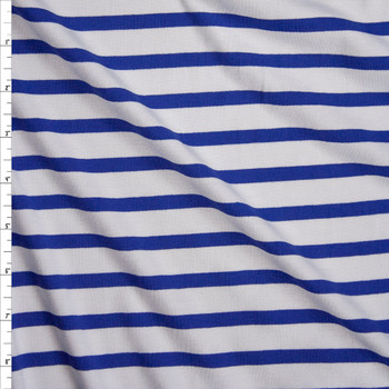 Blue and Offwhite Stripe Stretch Modal Jersey Knit Fabric By The Yard