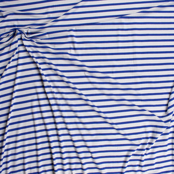 Blue and Offwhite Stripe Stretch Modal Jersey Knit Fabric By The Yard - Wide shot