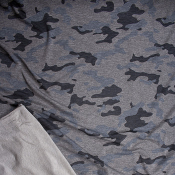 Grey Camouflage Stretch Rayon French Terry Fabric By The Yard - Wide shot