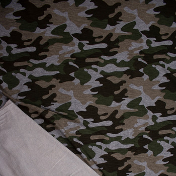 Olive, Brown, Tan, and Grey Camouflage Stretch Rayon French Terry Fabric By The Yard - Wide shot