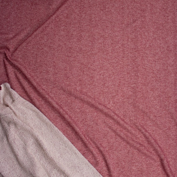 Burgundy Cotton French Terry Fabric By The Yard - Wide shot