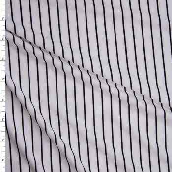 Black on Offwhite Vertical Stripe Double Brushed Poly/Spandex Fabric By The Yard