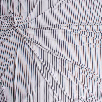 Black on Offwhite Vertical Stripe Double Brushed Poly/Spandex Fabric By The Yard - Wide shot