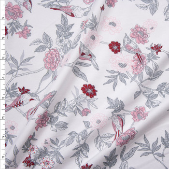 Light Grey, Pink, and Wine Birds and Flowers on White Double Brushed Poly/Spandex Fabric By The Yard