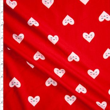 Smiling White Hearts on Red Double Brushed Poly/Spandex Fabric By The Yard