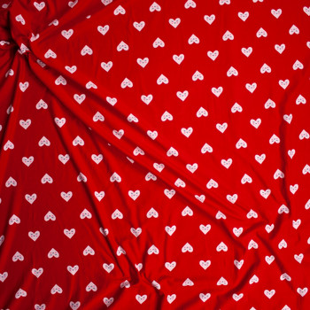 Smiling White Hearts on Red Double Brushed Poly/Spandex Fabric By The Yard - Wide shot