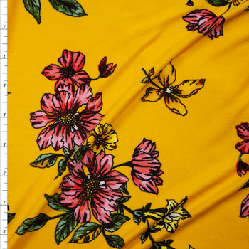 Pink, Yellow, and Green Sketch Floral on Yellow Double Brushed Poly/Spandex Fabric By The Yard