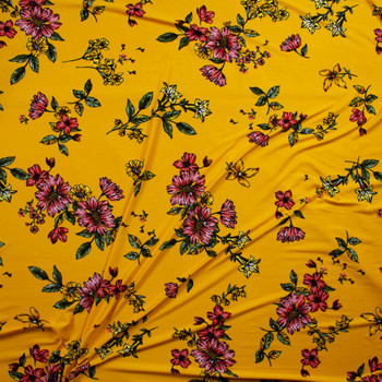 Pink, Yellow, and Green Sketch Floral on Yellow Double Brushed Poly/Spandex Fabric By The Yard - Wide shot