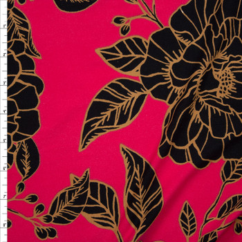 Black and Tan Floral on Hot Pink Double Brushed Poly/Spandex Fabric By The Yard