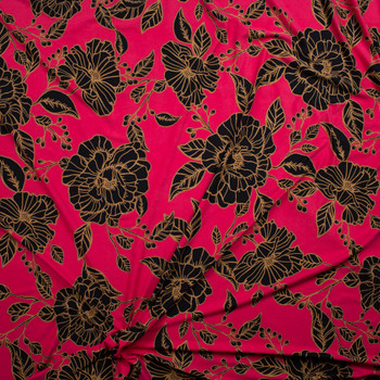 Black and Tan Floral on Hot Pink Double Brushed Poly/Spandex Fabric By The Yard - Wide shot