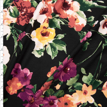 Plum, Sage, and Yellow Floral on Black Double Brushed Poly/Spandex Fabric By The Yard
