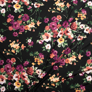 Plum, Sage, and Yellow Floral on Black Double Brushed Poly/Spandex Fabric By The Yard - Wide shot