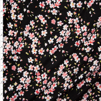 Small Pink and White Floral Double Brushed Poly/Spandex Fabric By The Yard