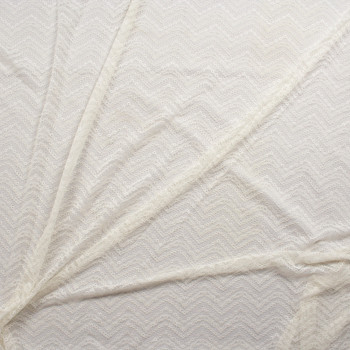 Ivory Vertical Chevron Pattern Stretch Lace Fabric By The Yard - Wide shot