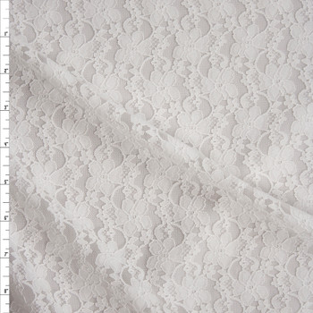 Warm White Classic Floral Stretch Lace Fabric By The Yard