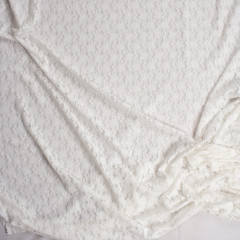 Warm White Classic Floral Stretch Lace Fabric By The Yard - Wide shot
