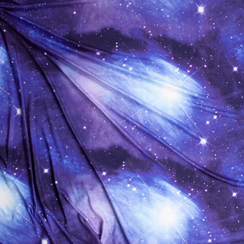 Midnight Galaxy Double Brushed Poly Spandex Fabric By The Yard - Wide shot