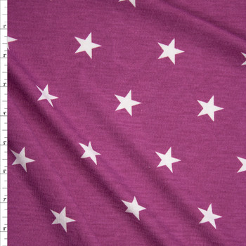 White Stars on Fucshia Poly/Rayon French Terry Fabric By The Yard