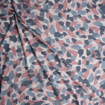 Pink, Slate, and Charcoal Paint Daubs on Heather Grey Stretch French Terry Fabric By The Yard - Wide shot