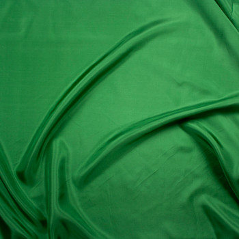 Green Designer Silk Habotai Fabric By The Yard - Wide shot