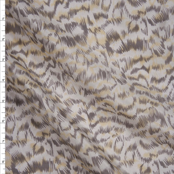 Taupe, Yellow, and Offwhite Abstract Animal Silk Habotai Fabric By The Yard