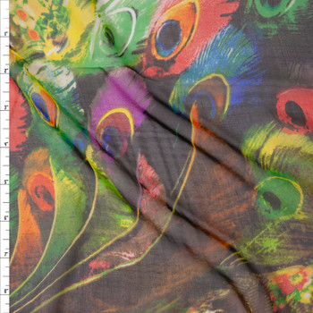 Vibrant Multicolor Peacock Abstract Print Designer Silk Chiffon Fabric By The Yard