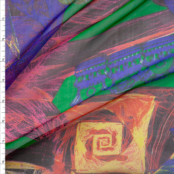 Multicolor Abstract on Green Designer Silk Chiffon Fabric By The Yard
