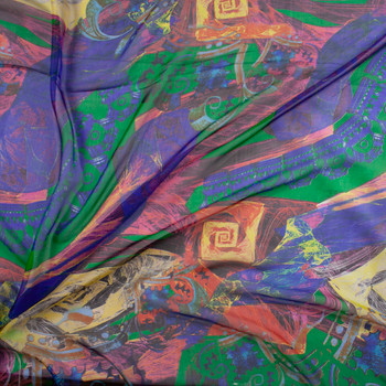 Multicolor Abstract on Green Designer Silk Chiffon Fabric By The Yard - Wide shot