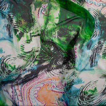 Abstract Paisley Grunge Designer Silk Chiffon Fabric By The Yard - Wide shot