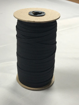 "Black 1/4"" Braided Elastic Roll (200y)"