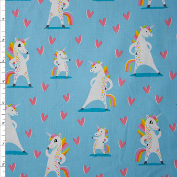 Magical Rainbow Unicorns Blue Charcoal by Robert Kaufman Quilter's Cotton Print Fabric By The Yard