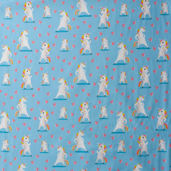 Magical Rainbow Unicorns Blue Charcoal by Robert Kaufman Quilter's Cotton Print Fabric By The Yard - Wide shot