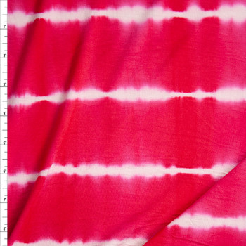 Red and White Banded Tie Dye Stretch Rayon Jersey Fabric By The Yard